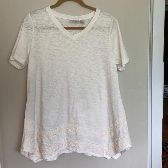 LOGO Lori Goldstein Ivory Short Sleeved Tunic